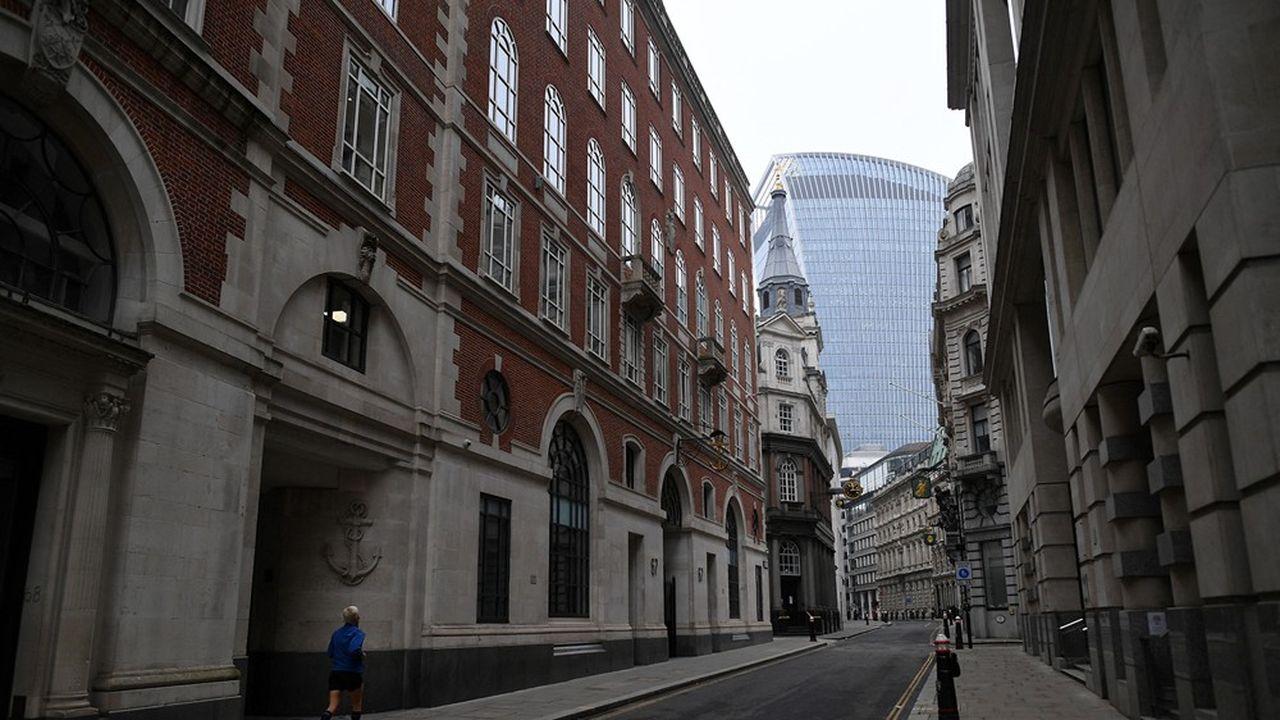 Le quartier de la City, à Londres, quasi déserté. Au Royaume-Uni, le taux de retour au bureau est très faible comparé aux autres pays d'Europe.