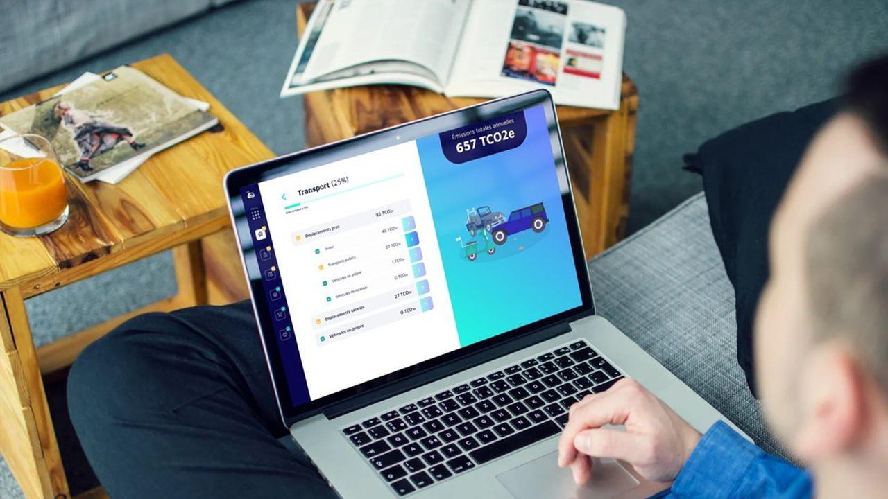 Interface de l'application web de Carbo pour les entreprises.
