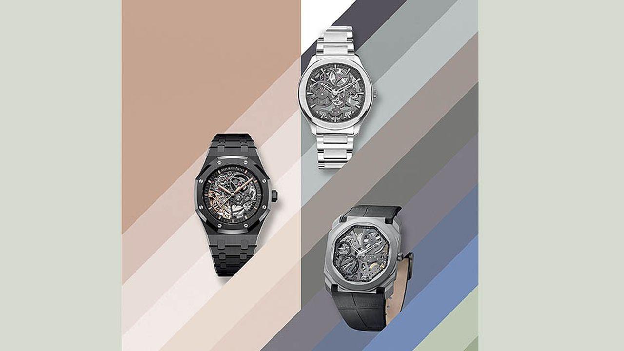 Audemars Piguet (à gauche), Piaget (en haut à droite) etBvlgari (en bas à droite): trois interprétations de la montre squelette.