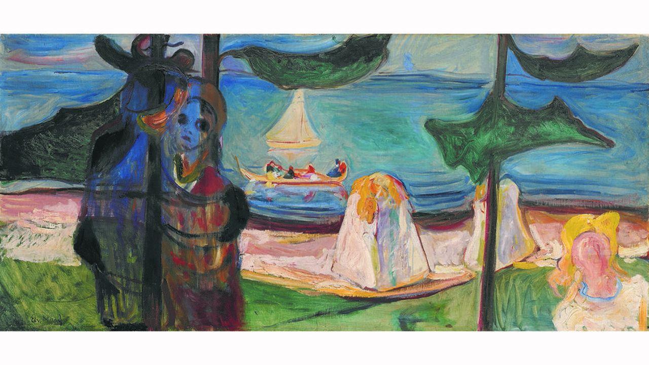 «Etreinte sur la plage», d'Edvard Munch (1904), est estimée 9millions de livres (10,5millions d'euros).