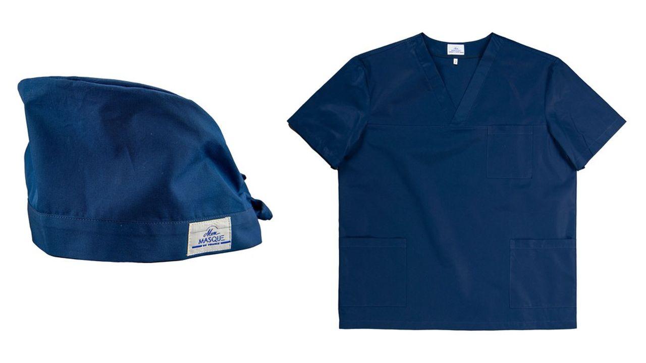 Différents modèles de blouse, tunique enfilable, pantalon ou charlotte ont ainsi été mis au point à partir de la technologie suisse HeiQ Viroblock.