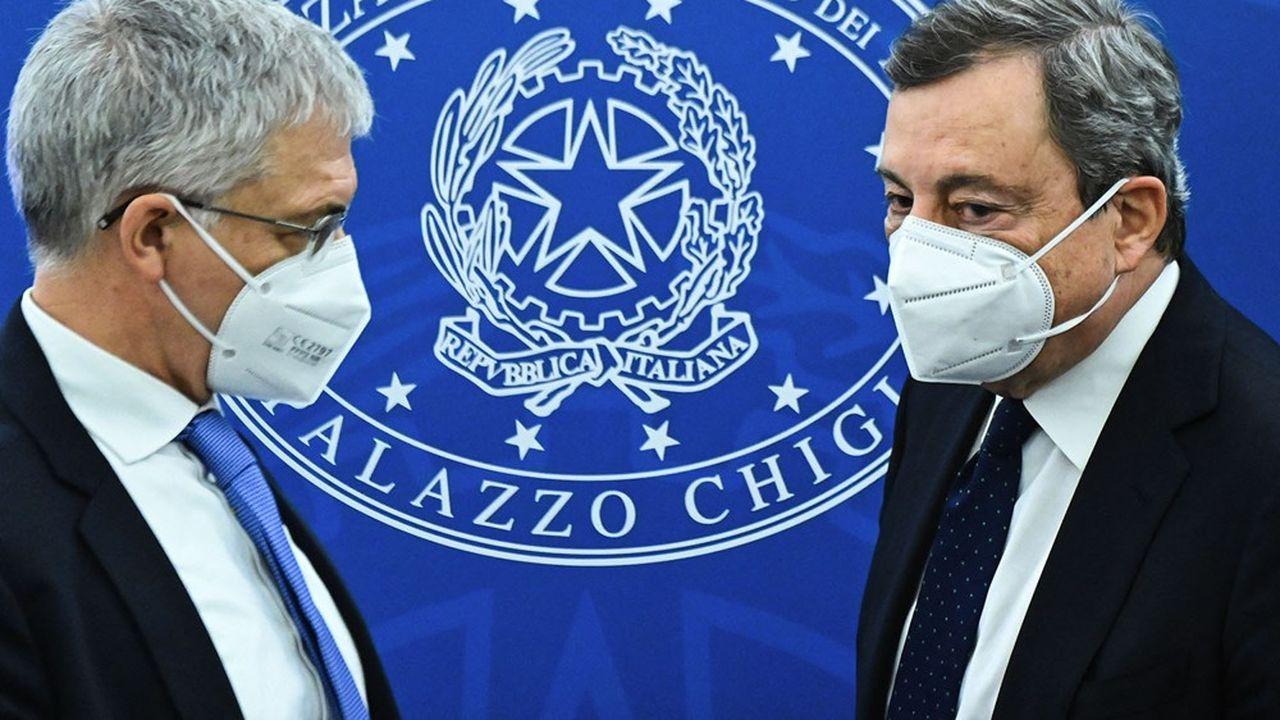 Le ministre de l'Economie, Daniele Franco, et le président du Conseil, Mario Draghi, sont à la manoeuvre pour préparer le nouveau plan de relance italien.