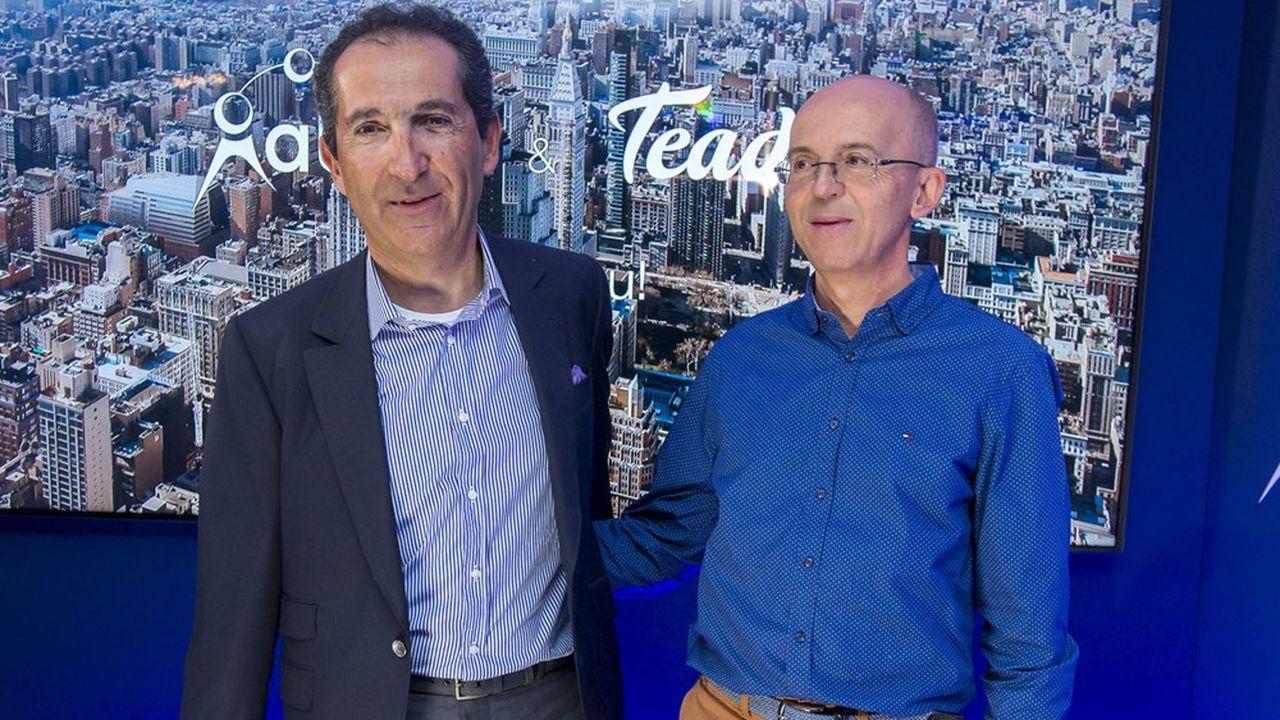 Patrick Drahi (à gauche), PDG du groupe Altice (BFM, i24news, SFR…) avec Pierre Chappaz, le président-fondateur de Teads. Entre2017 et2019, les revenus de Teads ont été multipliés partrois.