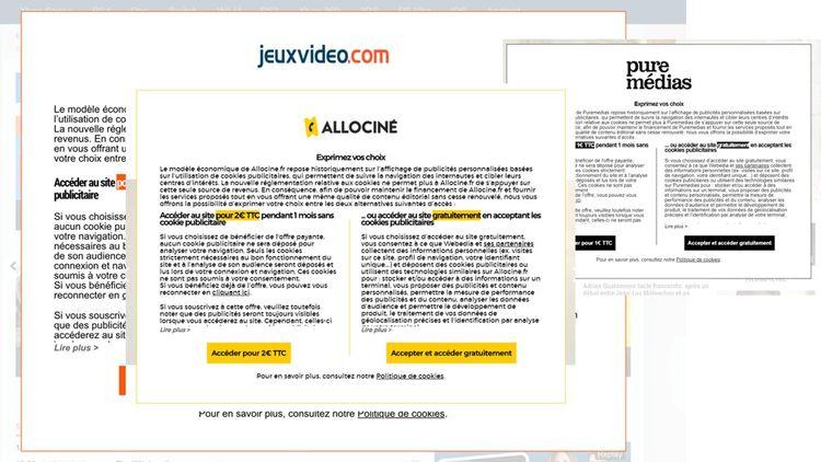 Capture d'écrans des nouveaux pop-up proposés par certains sites du groupe Webmédia.