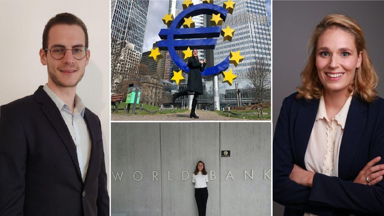Nagui à l'Insee (à gauche), Clémence au Trésor (à droite), Mégane à la BCE (en haut) et Eva à la Banque mondiale (en bas)