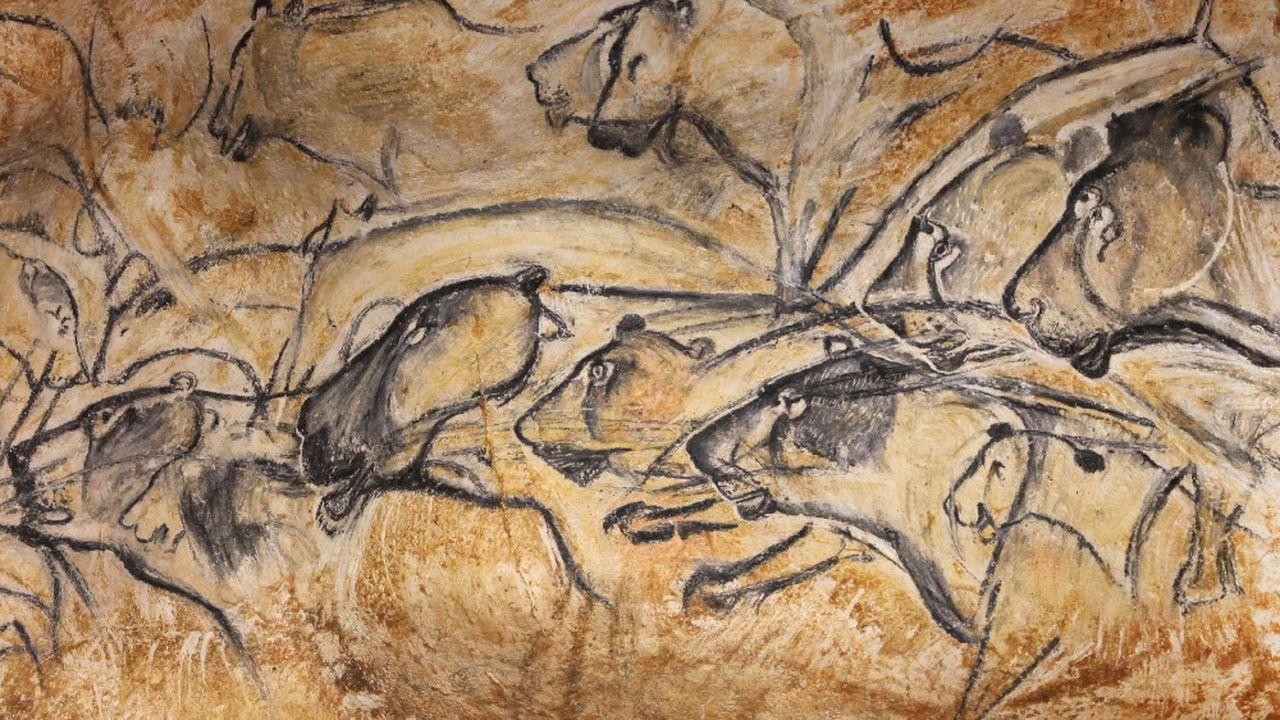 Le panneau des lions de la grotte Chauvet à Pont d'Arc.
