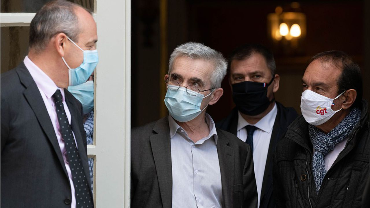 Le secrétaire général de la CFDT, Laurent Berger (à gauche), et ses homologues, Yves Veyrier de Force ouvrière et Philippe Martinez de la CGT en octobre2020.