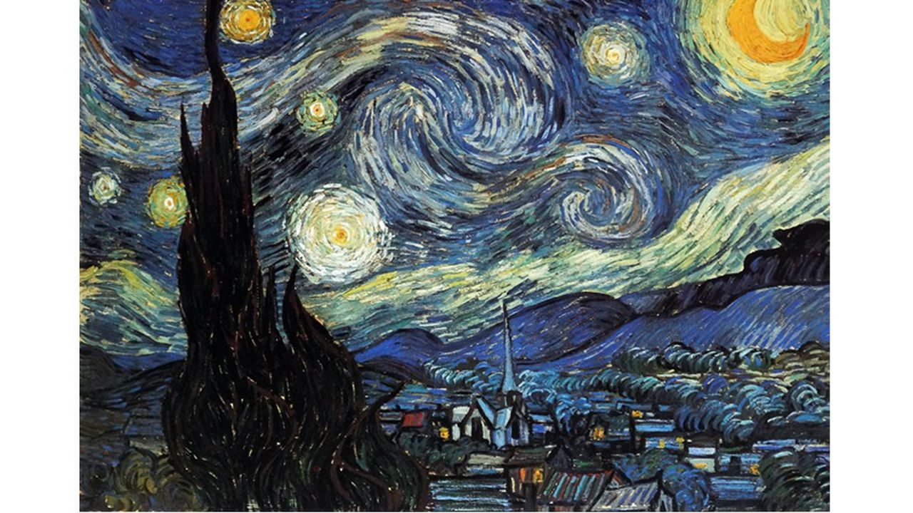 Painting by the famous Dutch artist Vincent Van Gogh (30th March 1853 - 29th July 1890), work titled 'The starry night'. Completed in 1889. Photo by World History