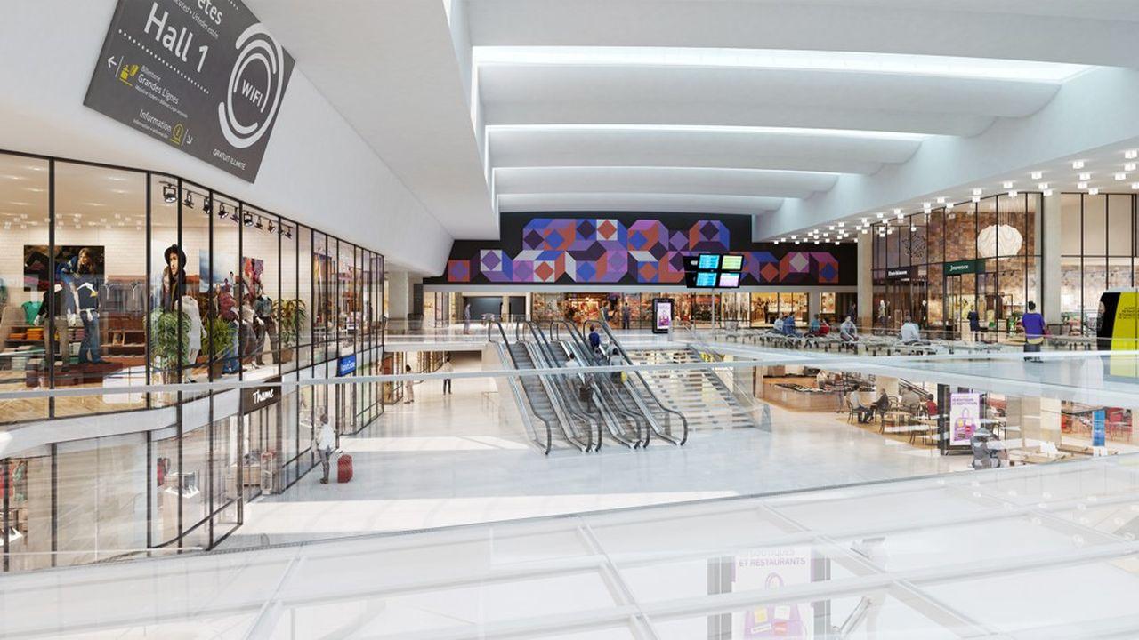 La gare offrira aux voyageurs 120 commerces et restaurants, aux vitrines refaites comme des verrières d'artistes.