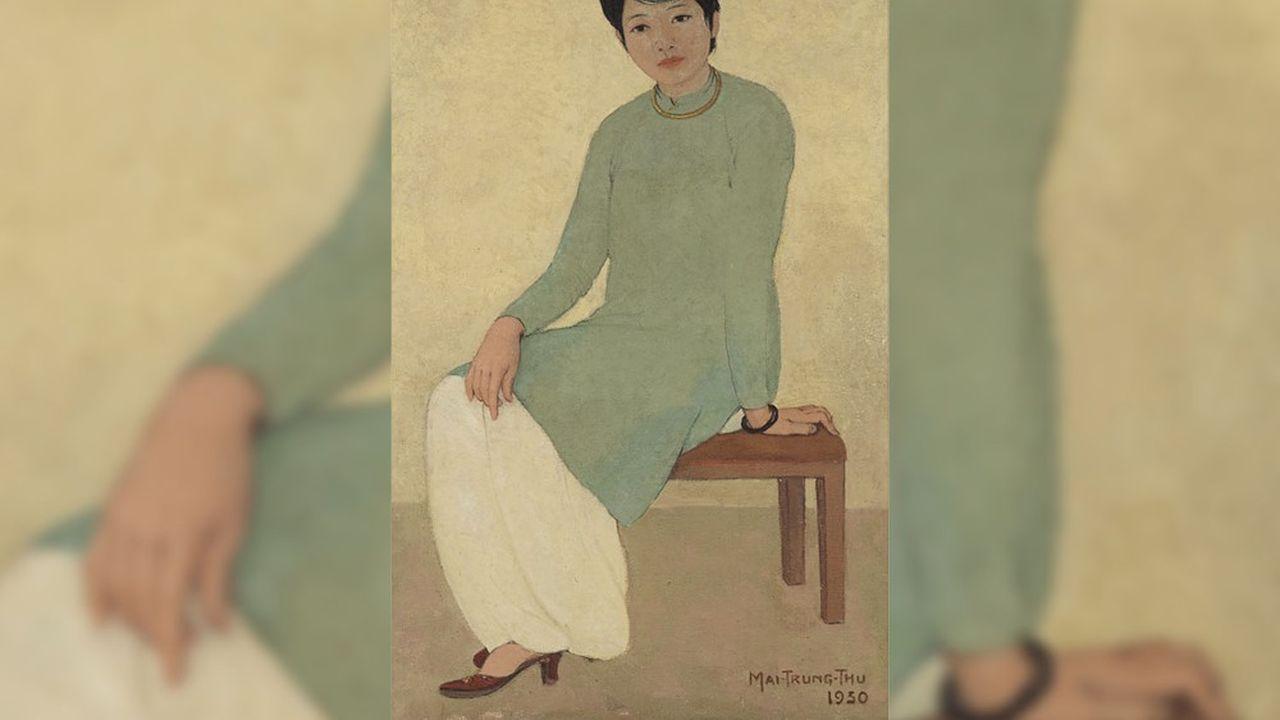 Vente du soir d'art moderne18avril 2021, Hong Kong. Les Souvenirs D'Indochine: Collection Madame Dothi Dumonteil. Mai Trung Thu (1906-1980) Portrait de Mademoiselle Phuong. Huile sur toile signé et daté 1930.2.617.084€