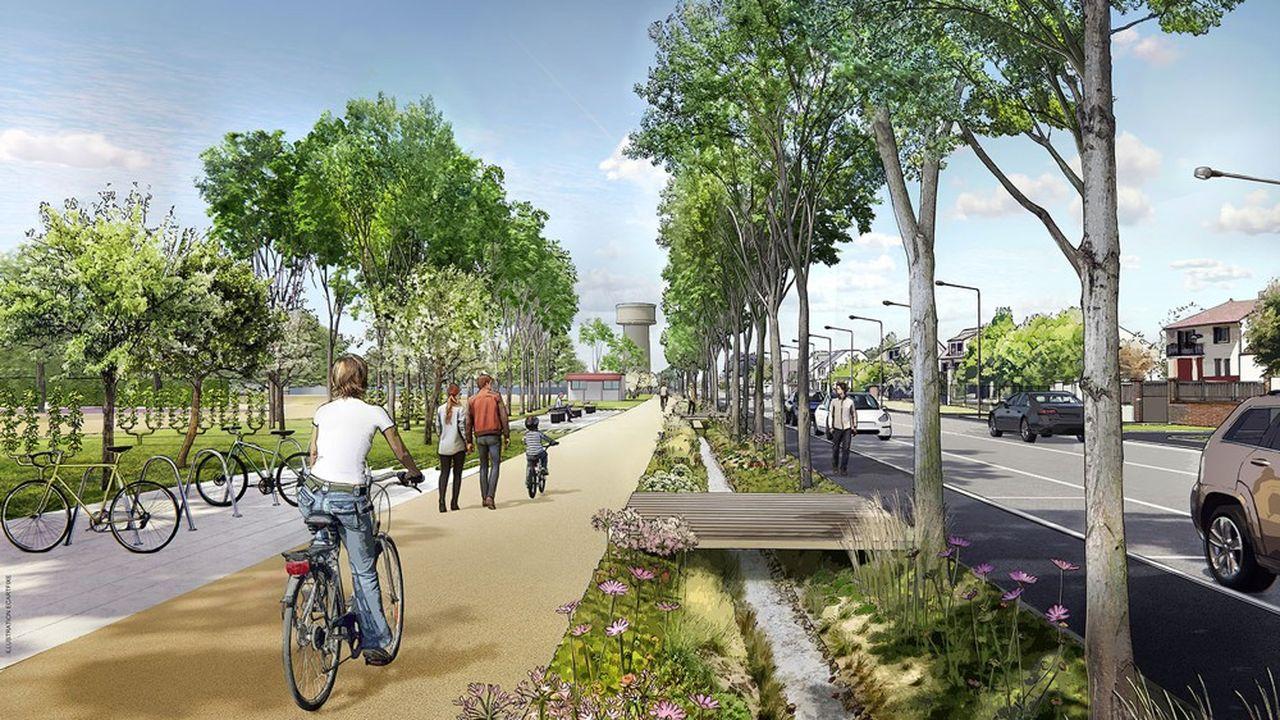 A Osny (Val-d'Oise), le projet de rénovation de la chaussée Jules-César prévoit de renforcer les aménagements pour les piétons et les vélos.