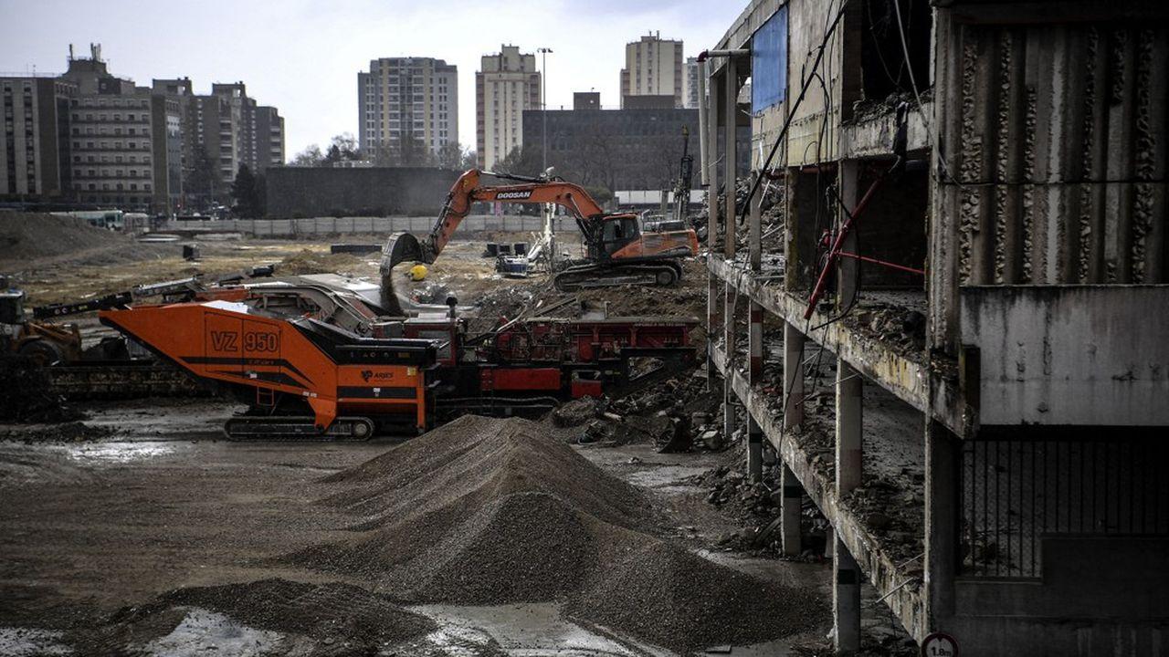 Chantier de construction à Bobigny (Seine-Saint-Denis), mars 2021.
