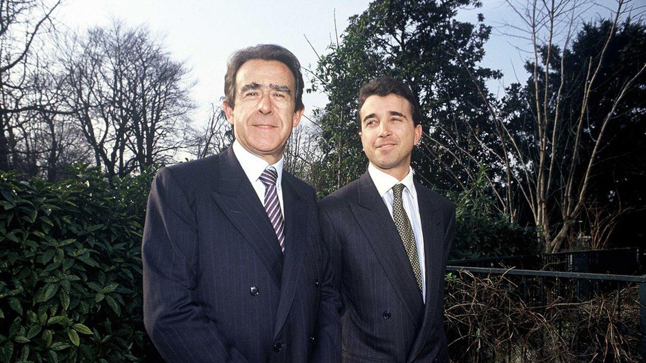 Jean-Luc Lagardère et son fils Arnaud en 1993. Ils disaient l'un de l'autre «lui c'est moi, moi c'est lui».