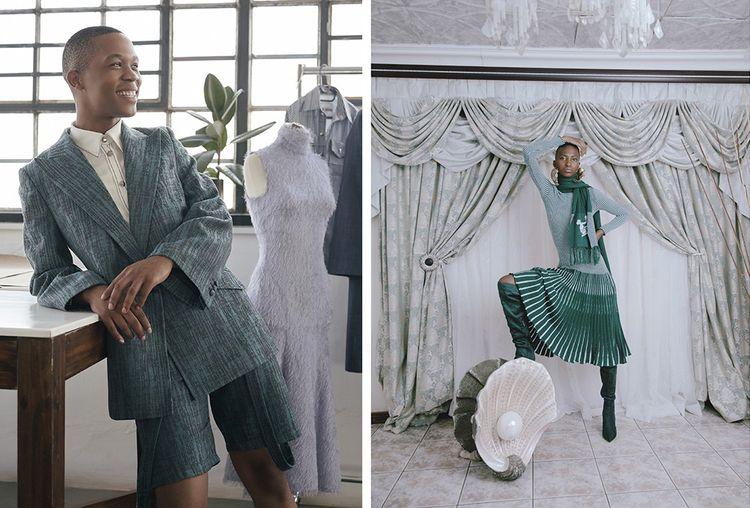 Thebe Magugu, lauréat du prix LVMH 2019. À droite : modèle de sa collection printemps-été 2021.