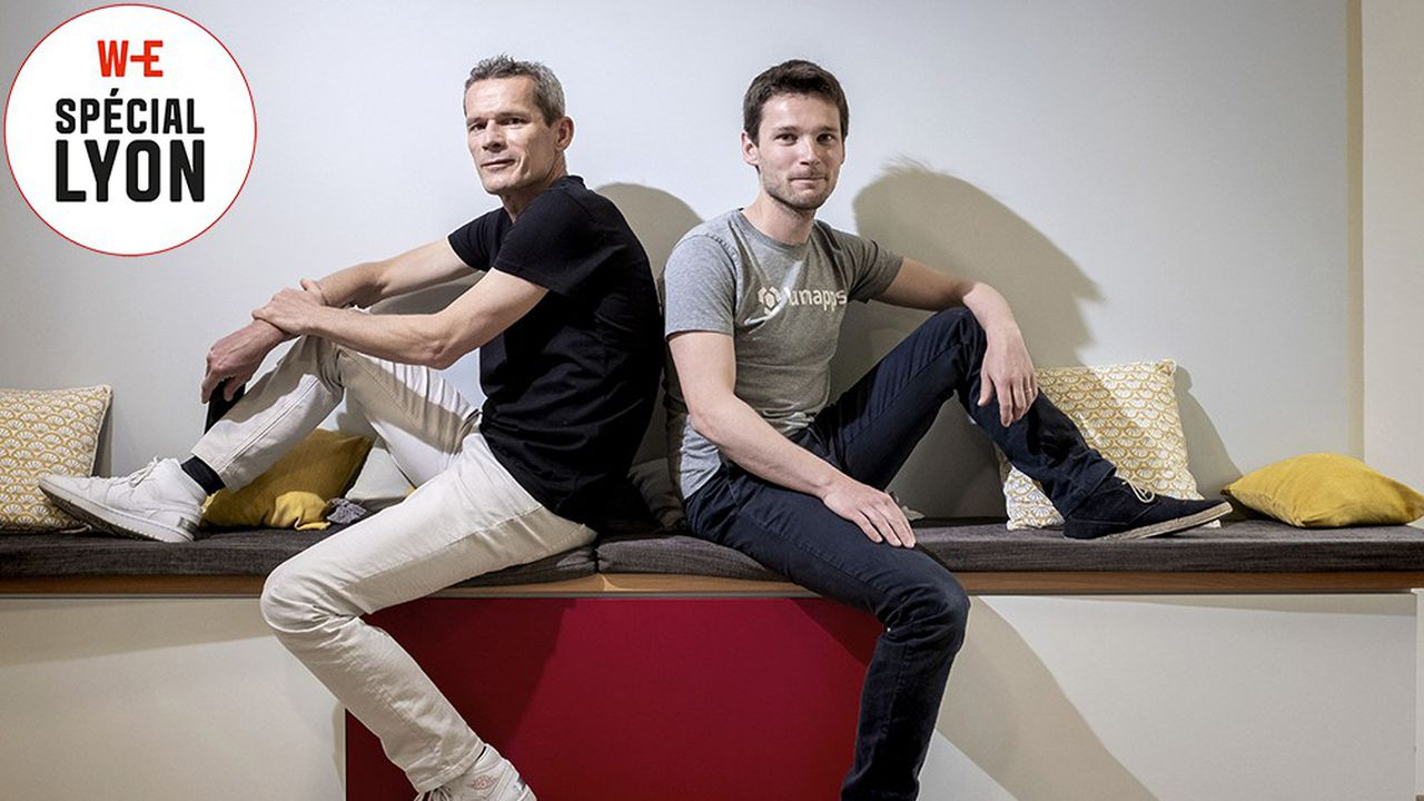Sébastien Ricard et Elie Mélois, cofondateurs de LumApps, plateforme intranet collaborative pour les entreprises.