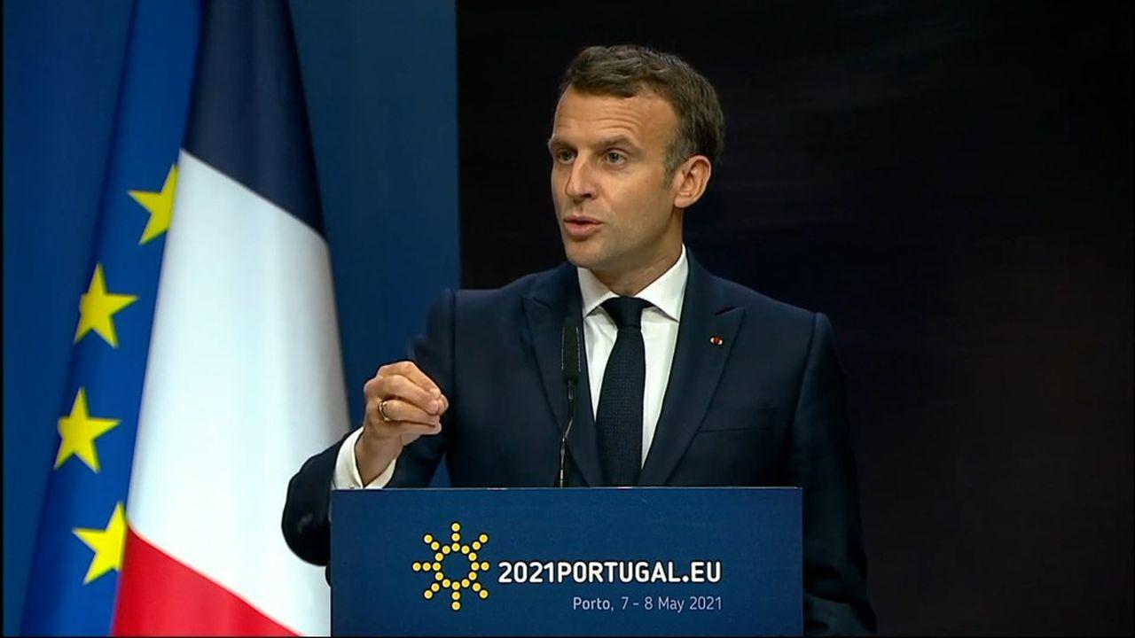 Au sommet social européen de Porto, le chef de l'Etat a appelé à «libérer les doses» de vaccins.