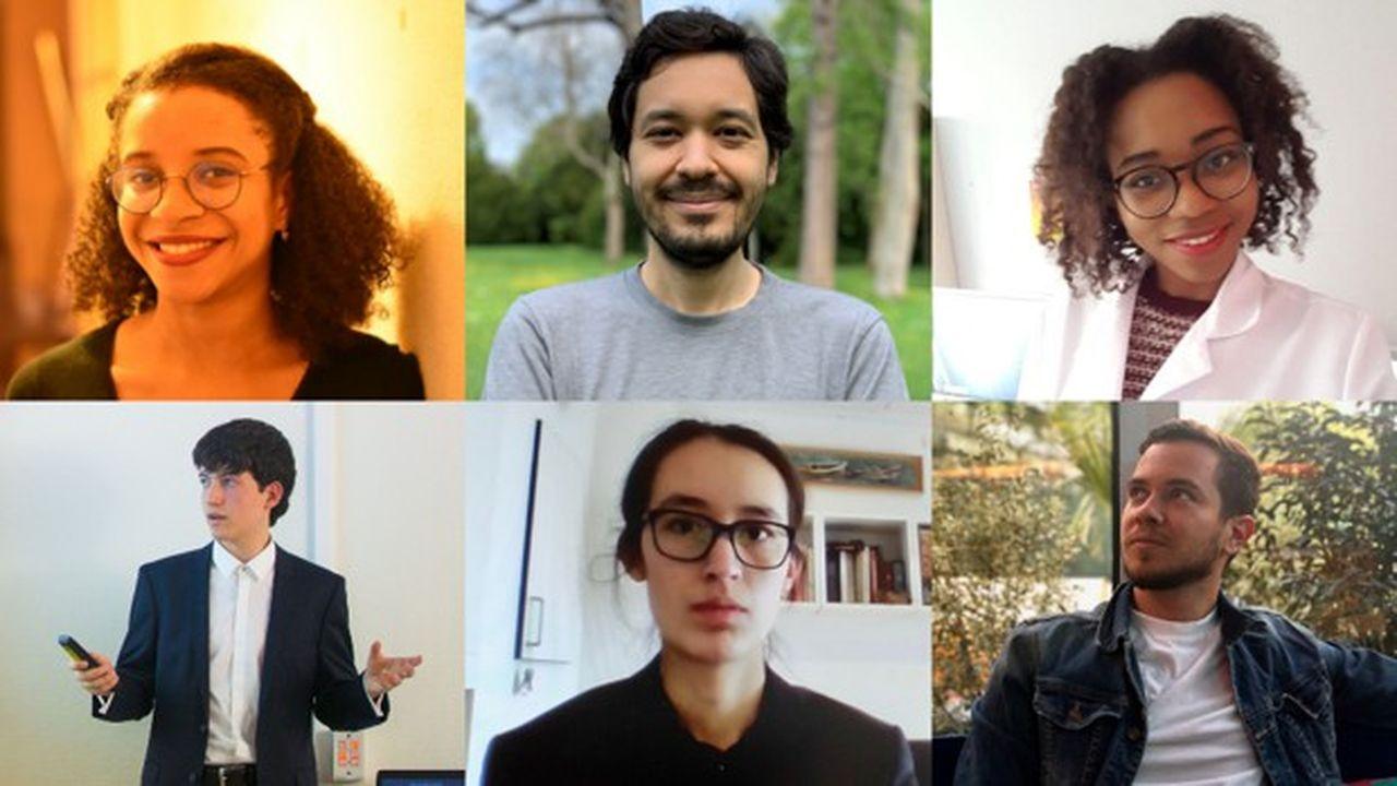 De gauche à droite et de haut en bas: Nora Caster, Charles-Pierre Astolfi, Déesse Dji'Ala, Hugo Sbai, Victoria Castro et Sacha Mineo.