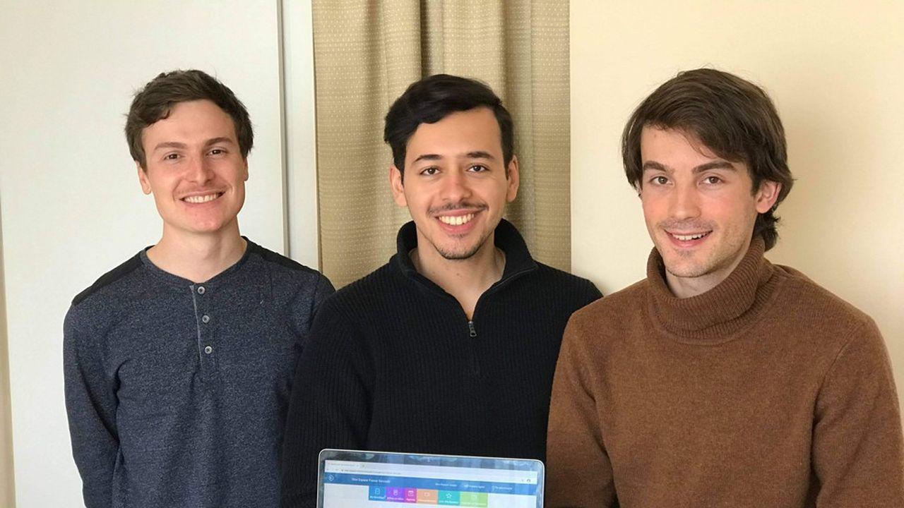 De gauche à droite, trois des cinq cofondateurs de Public +: Maxime Pradier, Richade Fahas et Théau Long. Il manque Marcio Boka et Gautier Laisné.