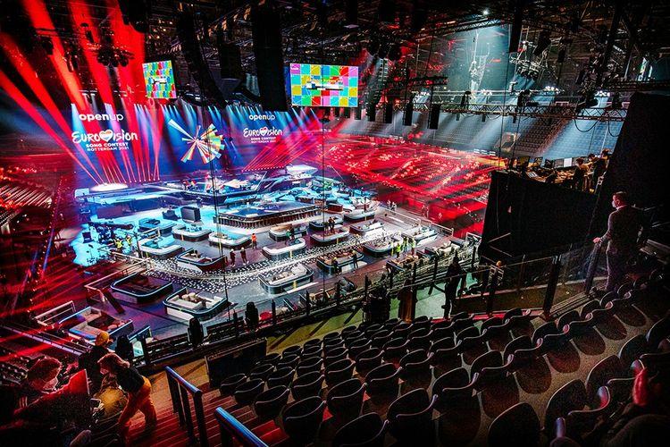 La Ahoy Arena de Rotterdam en pleins préparatifs pour le prochain concours, dont la finale aura lieu le 22 mai.