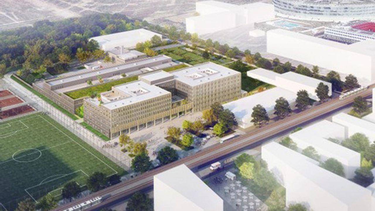 La réalisation de l'hôpital de Paris-Saclay est portée par Eiffage, avec une architecture réalisée par le cabinet SCAU.