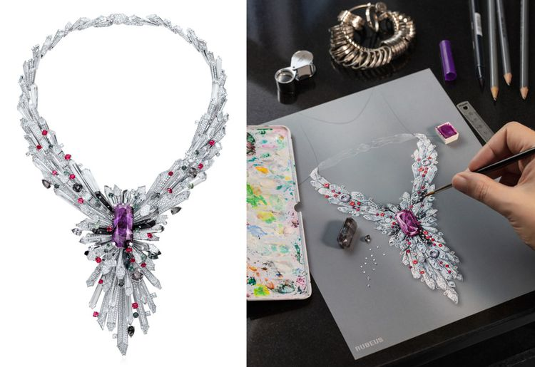 Le collier imperial Rubeus Milano, dont les pierres ont été sélectionnées par Anouck Veyret, qui a été dessiné par Frédéric Mané studio associé pour la fabrication à Jothi-Séroj, sculpteur joaillier.