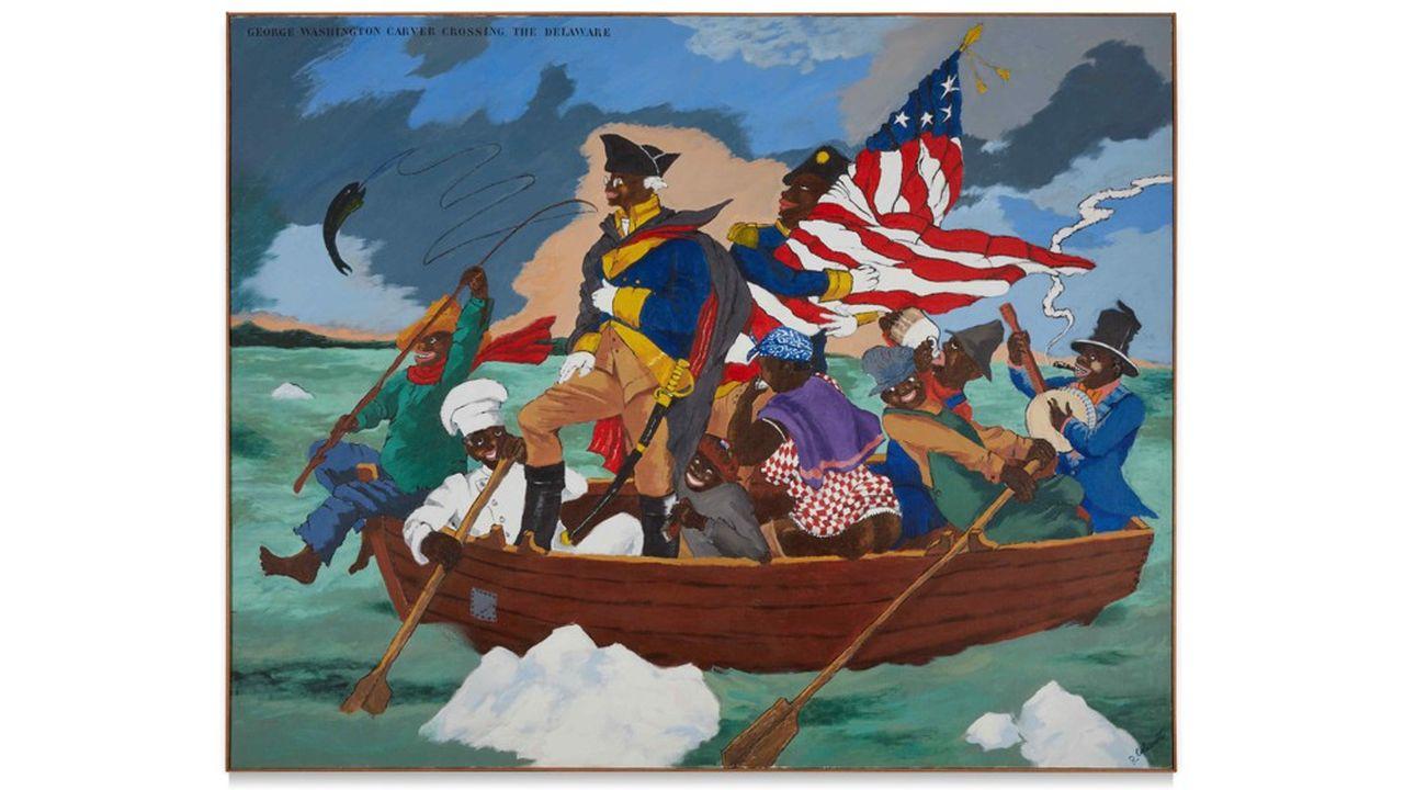 «George Washington Carver Crossing the Delaware», deRobert H. ColeScott, a été adjugée 15,3millions de dollars, le12mai 2021.