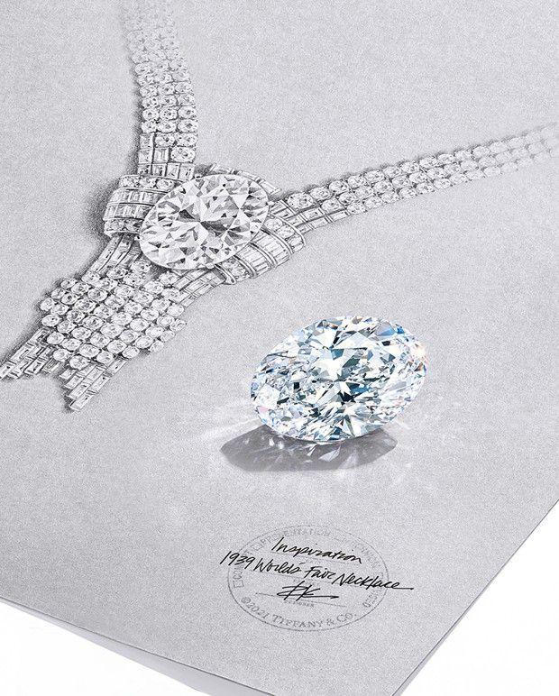 Orné d'un diamant ovale de 80 carats, le collier World's Fair de Tiffany & Co est une recréation d'un modèle de 1939.