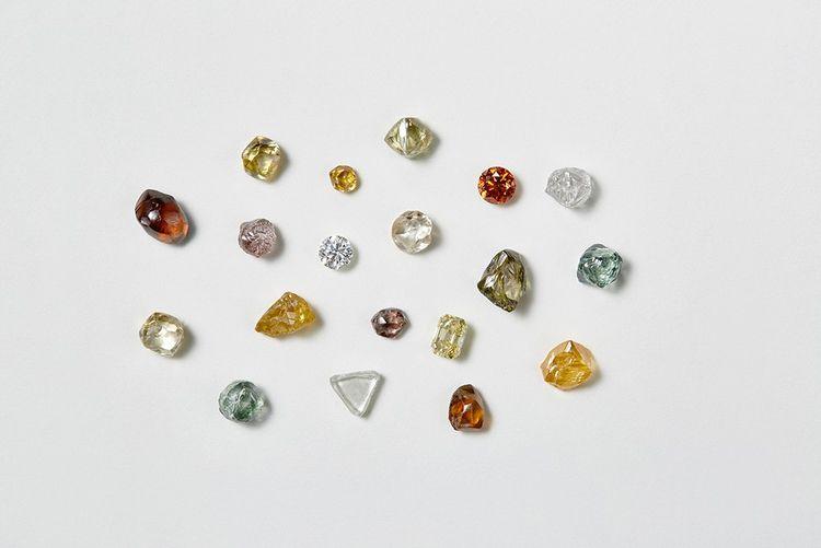 Collection de diamants blancs et de couleurs, bruts et polis, chez De Beers.