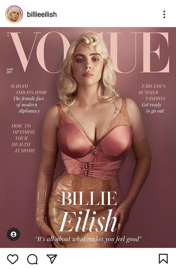 Billie Eilish reprends la une de «Vogue UK» sur son compte Instagram : 16 491 889 likes le 11 mai.