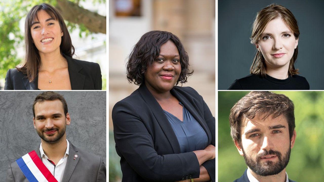 Paula Forteza (à gauche), Ugo Bernalicis, Laetitia Avia (au centre), et Aurore Bergé (à droite) sont députés depuis 2017. Rémi Cardon (à droite), élu depuis septembre2020, est le plus jeune sénateur de France.