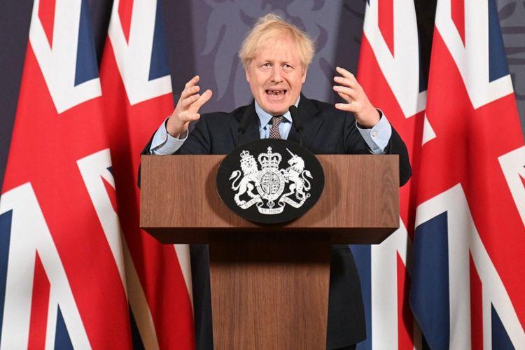 Boris Johnson lors de la conférence de presse virtuelle du 24décembre 2020.