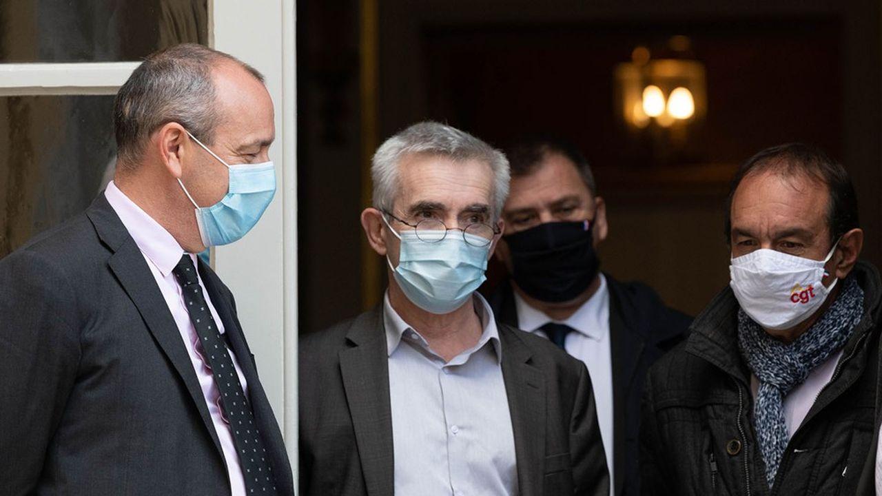 Les leaders des trois premiers syndicats français, Laurent Berger (CFDT), Yves Veyrier (FO) et Philippe Martinez (CGT).