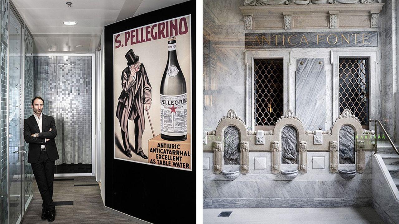Stefano Marini CEO di San Pellegrino Spa, presso la sede italiana di Nestlé Waters ad Assago, vicino a Milano, e le fontane dell'Antica Fonte a San Pellegrino Terme.