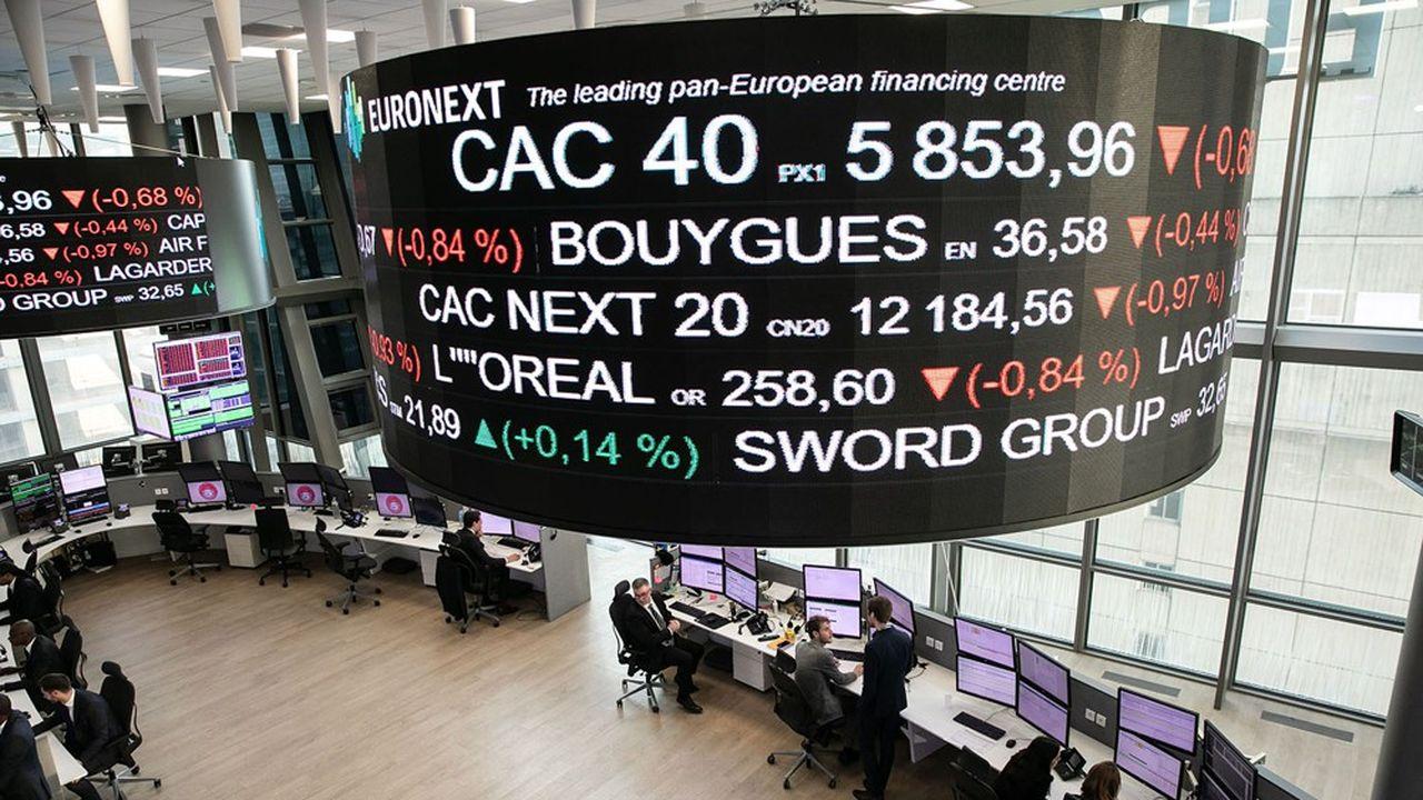 Siège d'Euronext, salle des marches et cotation. Le CAC 40 a touché les 6.500 points pour la première fois en plus de 20 ans, mardi 1erjuin.