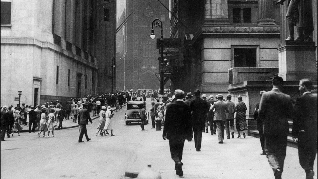Wall Sreet, le 24octobre 1929, une journée qui marqua le début d'un plongeon de 27% du Dow Jones en quatre séances.