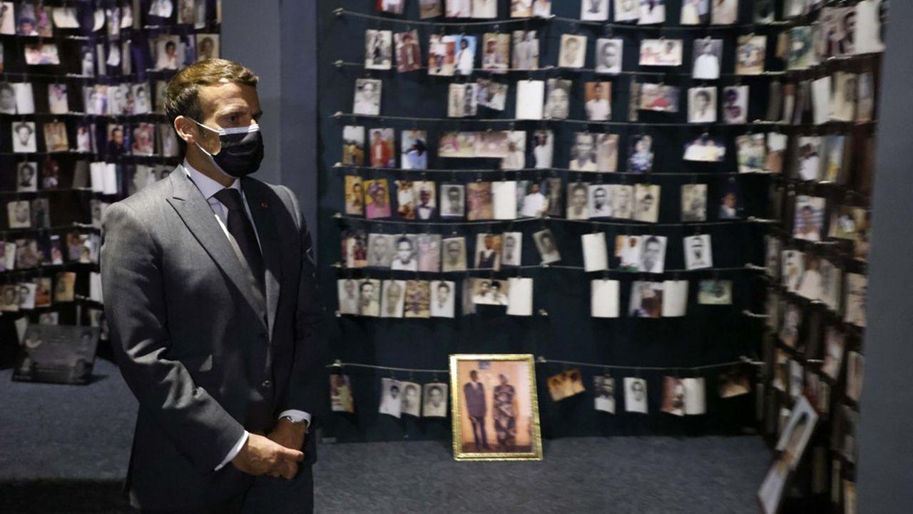Emmanuel Macron au Mémorial du génocide de Kigali, au Rwanda, le 27 mai 2021.