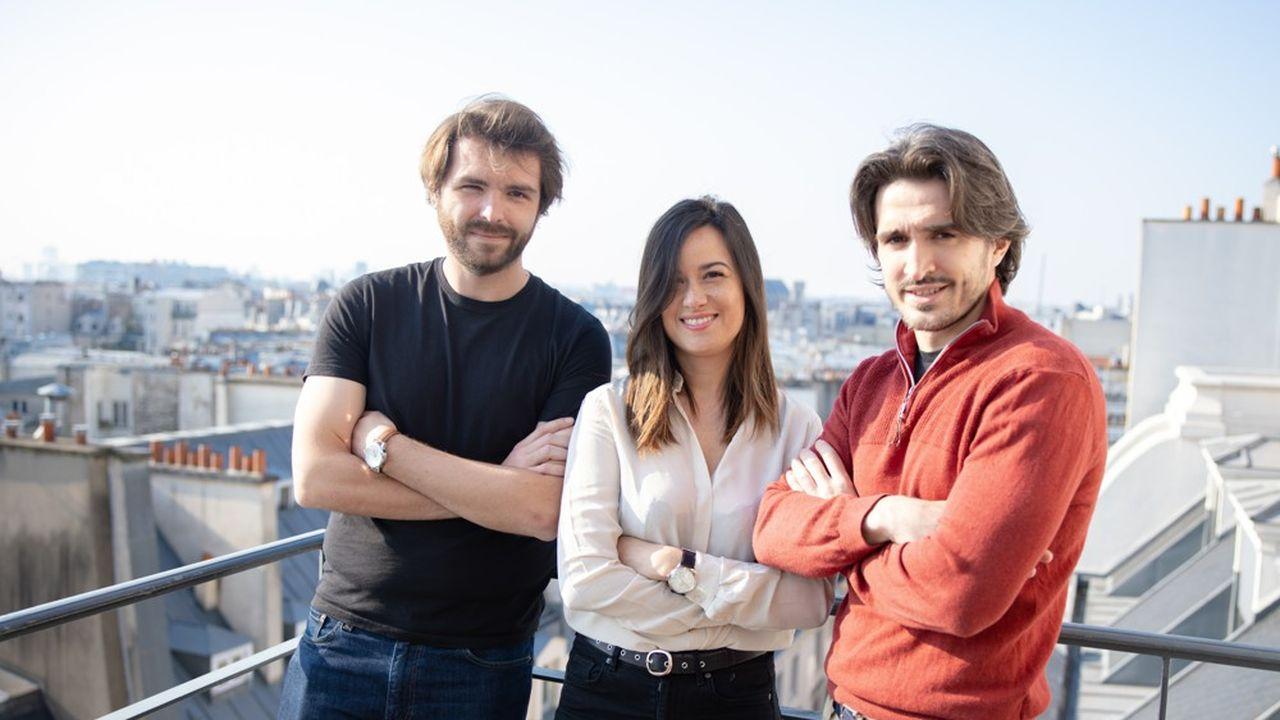 Florian Dufour-Rives (CTO), Jessie Toulcanon (CEO) et Samuel Rousseau (COO) de Pickme. Les entrepreneurs entendent doubler leurs effectifs cette année et recrutent huit personnes.