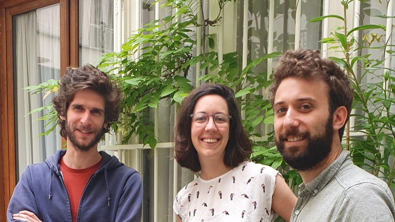 Benoît de La Porte, Sophie Doyen et Guillaume Coulomb, les cofondateurs d'On train, une start-up spécialisée dans la formation professionnelle dans le secteur de la tech.