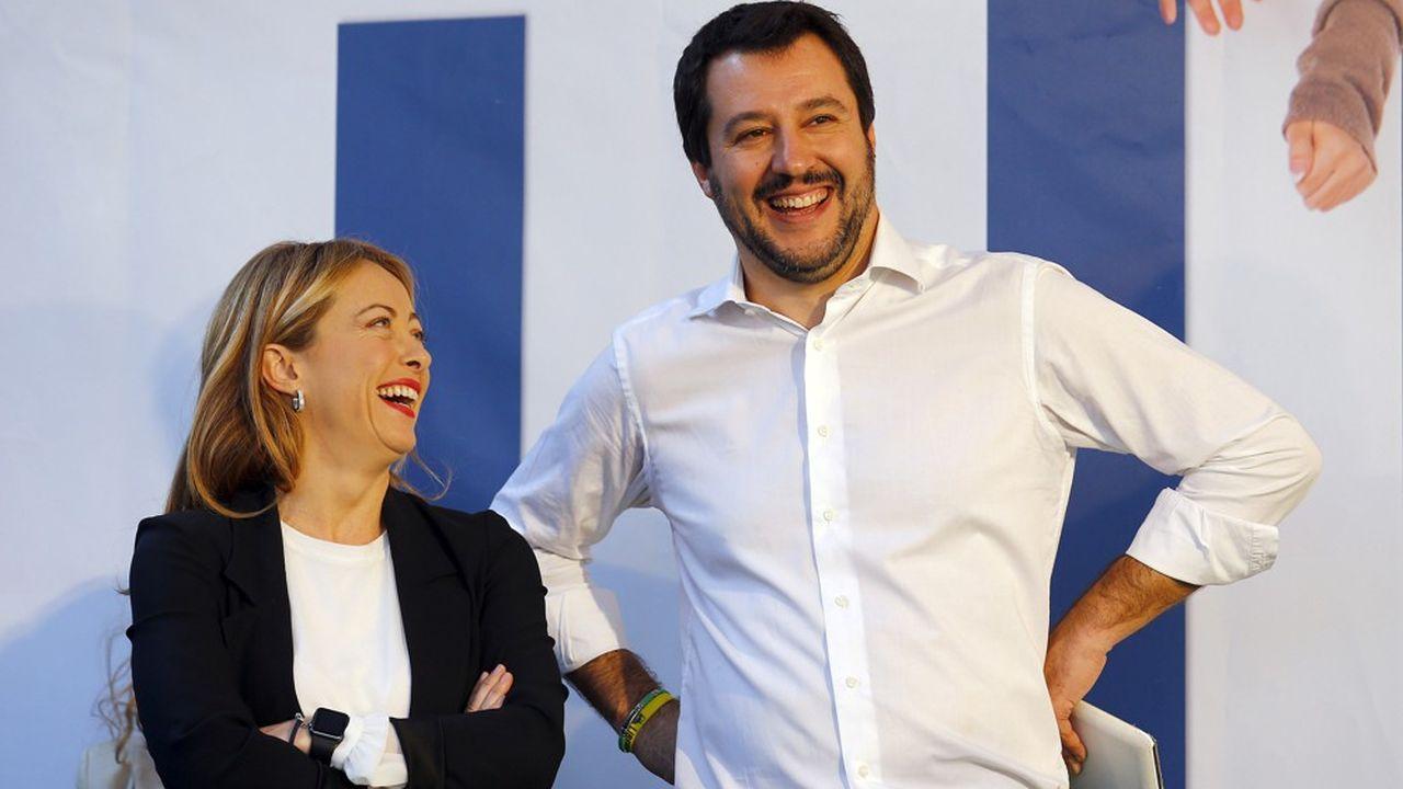 Matteo Salvini, le leader de la Ligue, et Giorgia Meloni, à la tête du parti populiste Fratelli d'Italia, en novembre2015.