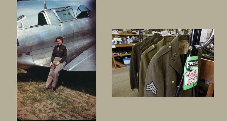 Lillian Lorraine Yonally, vers 1943-44. Elle faisait partie des WASP, unité de femmes pilotes civiles employées par l'US Air Force pendant la Seconde Guerre mondiale. À droite: Manteaux de l'armée américaine dans un surplus.