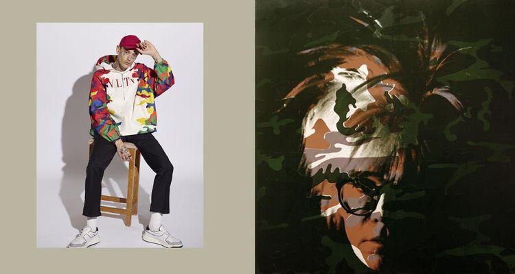 Valentino, collection homme automne 2021. À droite: «Self Portrait (Camouflage)», acrylique et sérigraphie sur toile, d'Andy Warhol (1986).