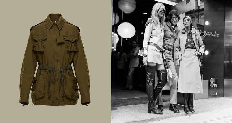 Saharienne JW Anderson pour Moncler Genius 2021. À droite: Yves Saint Laurent, le 10septembre 1969, devant sa première boutique londonienne, avec Loulou de La Falaise (à droite) et Betty Catroux.