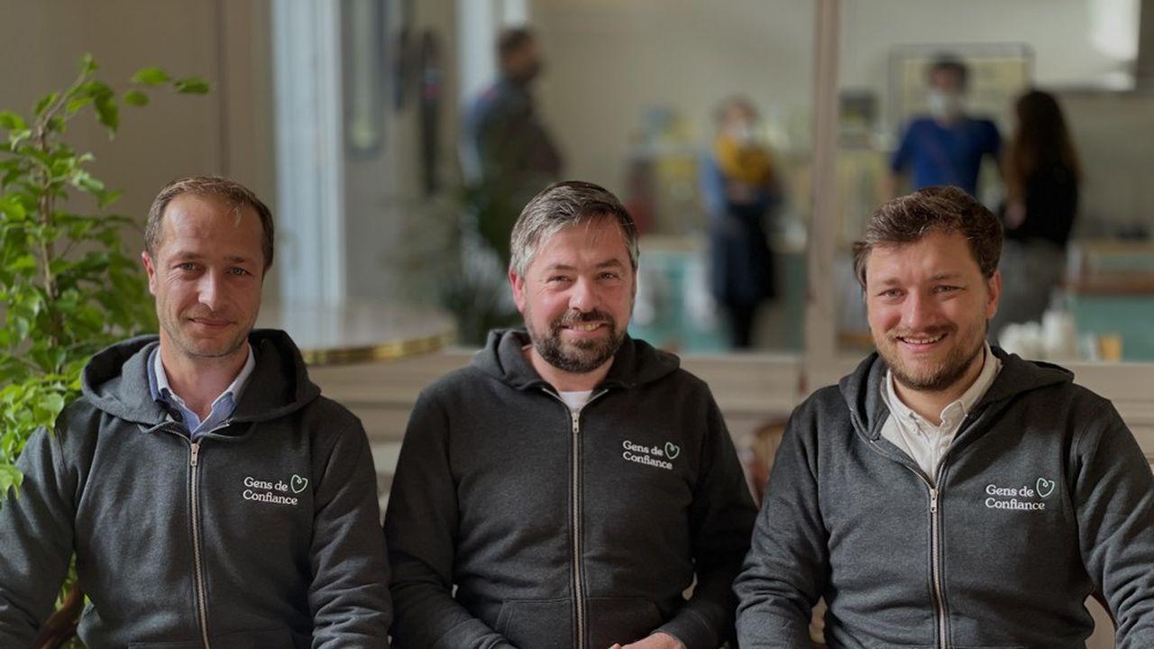 De gauche à droite, Enguerrand Leger, Ulric Le Grand et Nicolas Davoust, les trois cofondateurs de Gens de confiance.