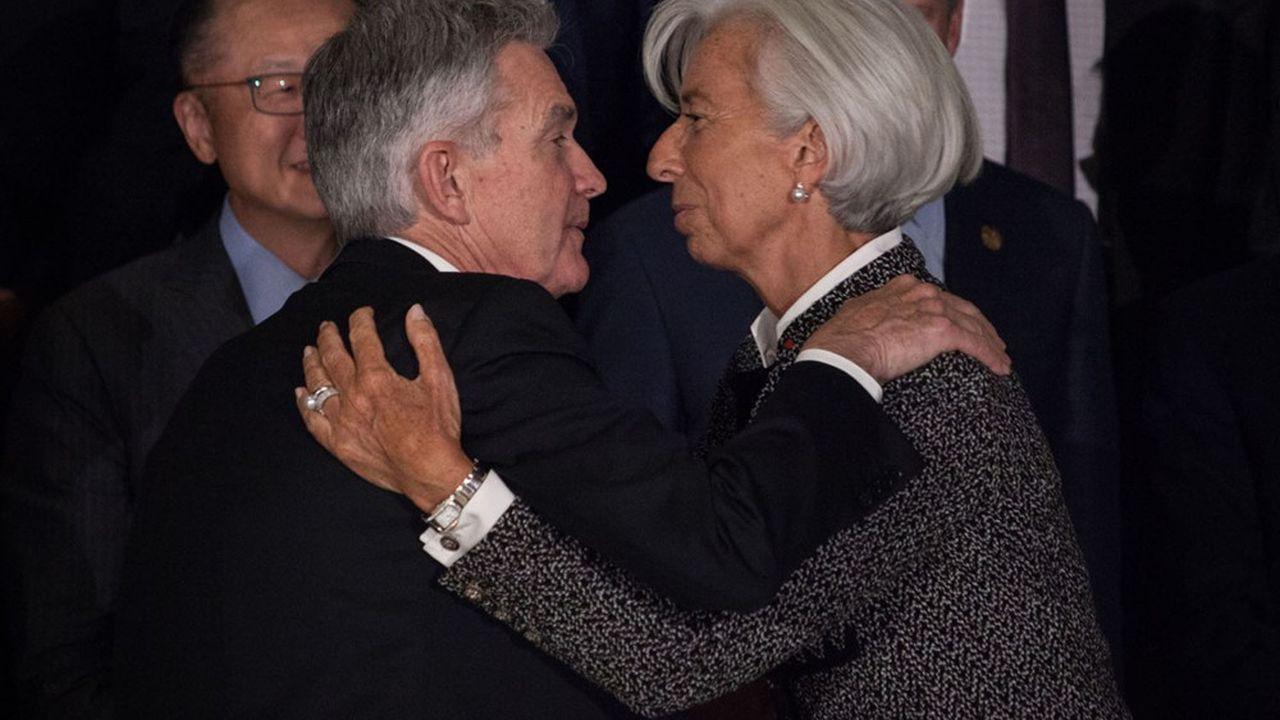 Jerome Powell, président de la Réserve fédérale américaine, et Christine Lagarde, désormais présidente de la Banque centrale européenne et alors directrice générale du Fonds monétaire international, le 21juillet 2018, lors du G20, à Buenos Aires.