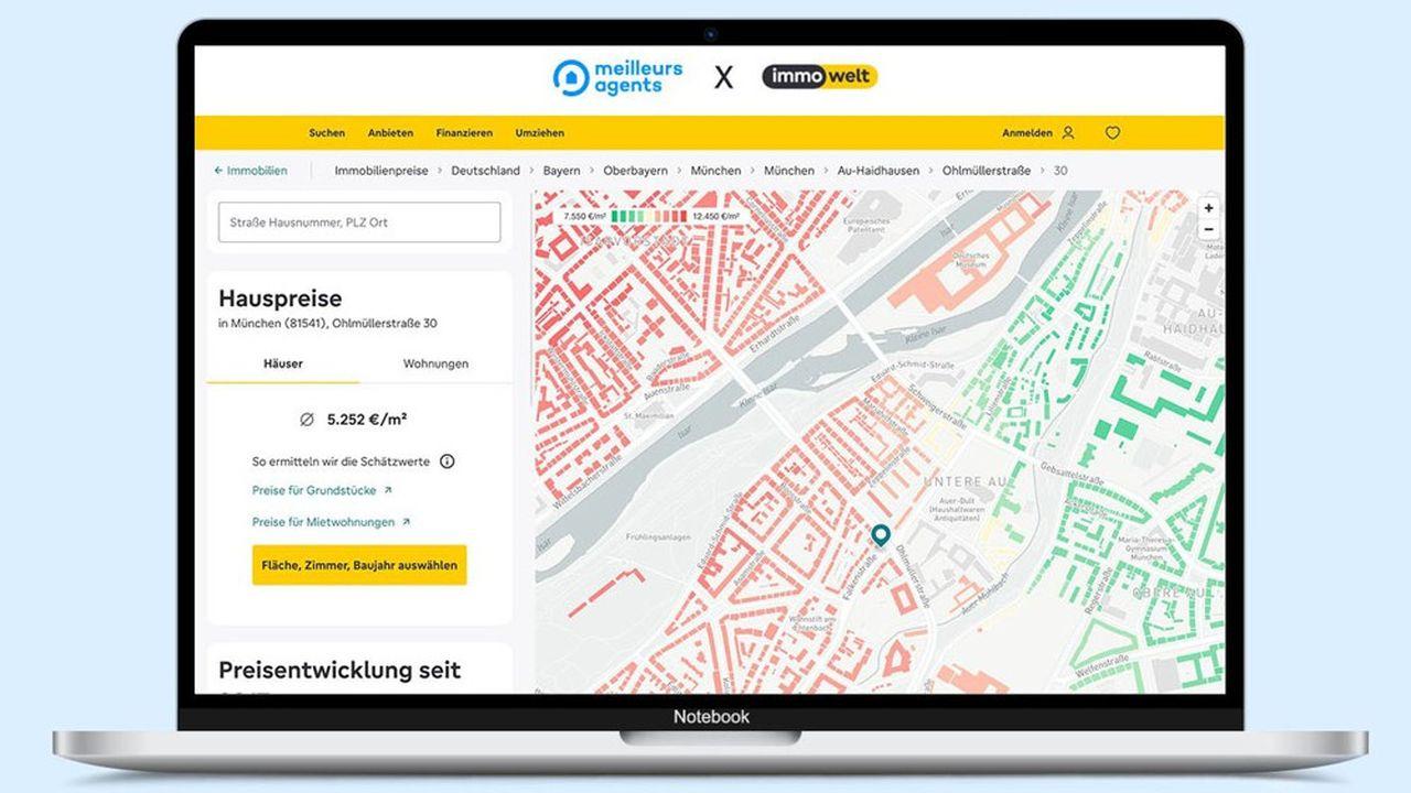 Un service d'estimation de biens immobiliers identique à celui de MeilleursAgents est lancé sur le site allemand Immowelt.