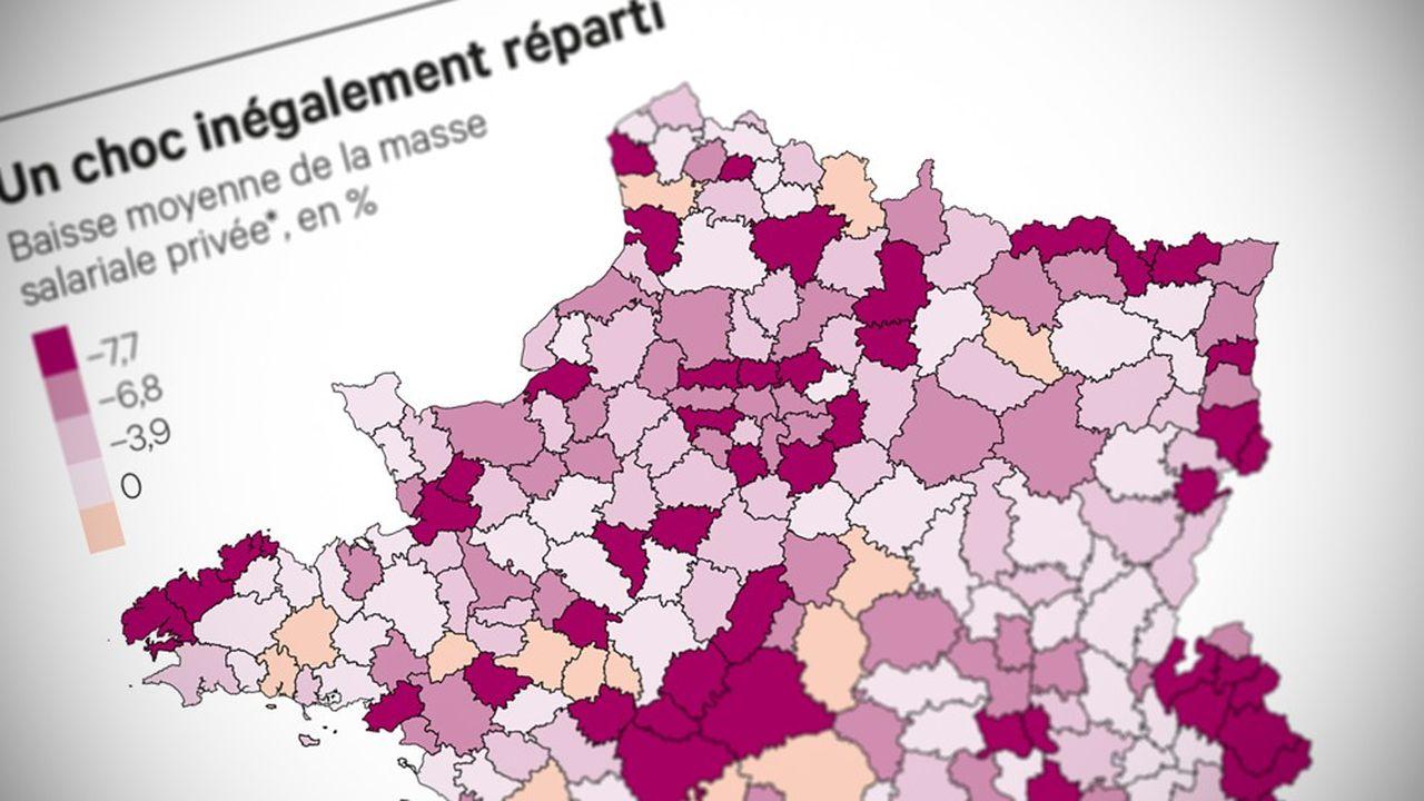 Parmi les 30 zones d'emploi métropolitaines où le choc de la crise sur la masse salariale privée a été le plus fort, on trouve aussi bien La Tarentaise que Roissy, Saint-Louis, Vire Normandie, Thouars) ou Calvi.
