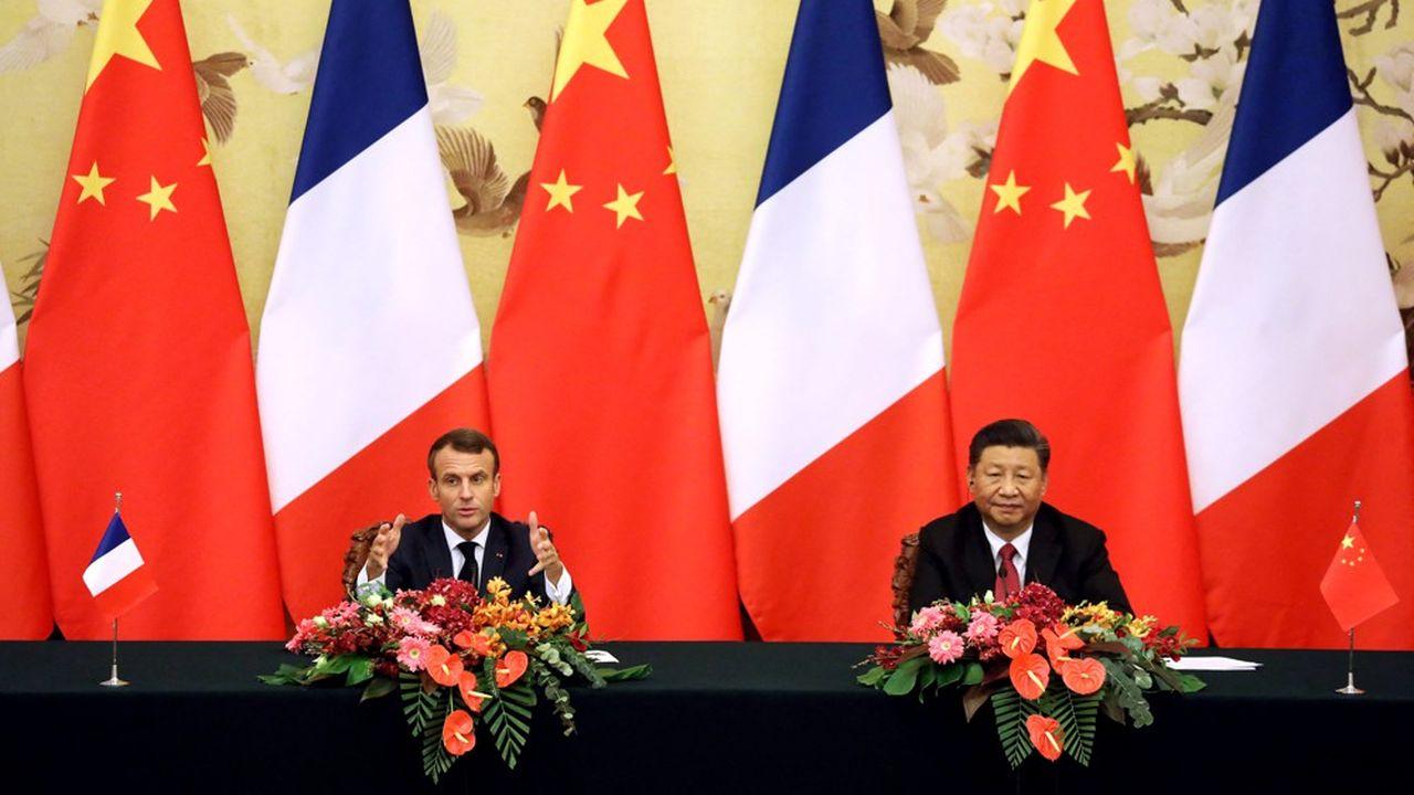 Emmanuel Macron et Xi Jinping le 6novembre 2019.