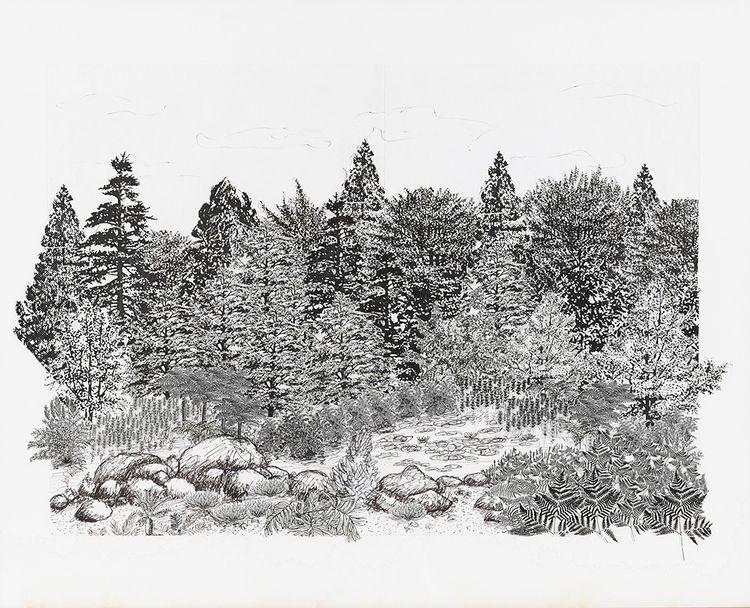 Collage de papiers et stylo sur papier de Mark Brown, exposé à la galerie Love&Collect à Paris.