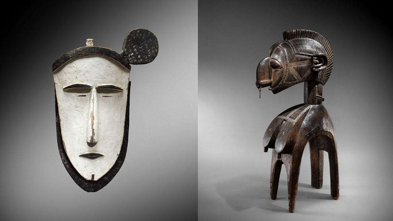 Dans le domaine de l'art tribal, la provenance joue un rôle clé dans la détermination de la valeur. A gauche: Masque des îles Mortlock et Carolines (estimation: 500.000 à 700.000euros). A droite: masque d'épaule Nimba de Guinée (800.000 à 1.200.000euros)