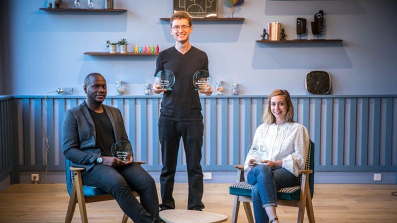 Les trois finalistes de «Ma thèse en 180 secondes» de l'édition 2021. De gauche à droite : Peter Stephen Assaghle, Paul Dequidt et Louise Fliedel